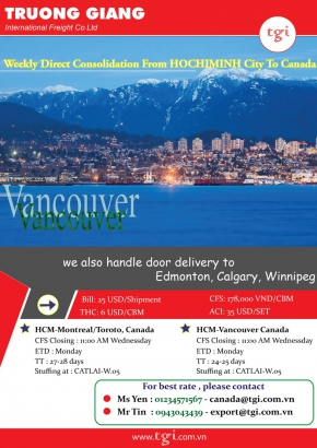 Weekly direct consolidation from HOCHIMINH city to Canada